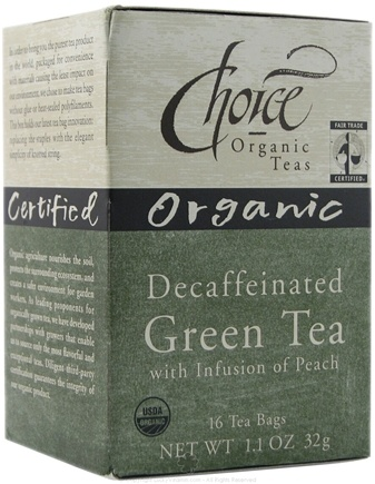 DROPPED: Choice Organic - Decaf Green Tea with Peach Organic - 16 Tea Bags