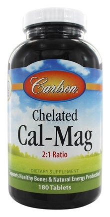 Carlson Labs - Chelated Cal-Mag 2:1 Ratio - 180 Tablets