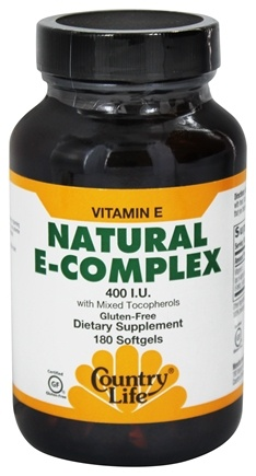 Country Life - Natural Vitamin E Complex with Mixed Tocopherols 400 IU - 180 Softgels
