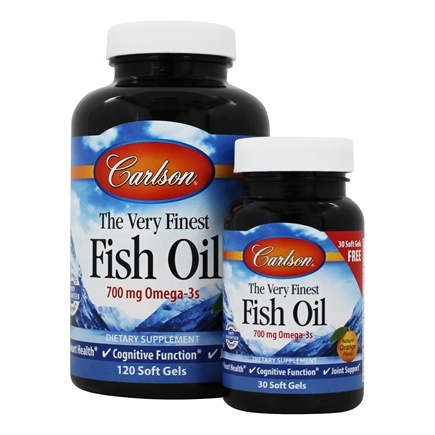 Carlson Labs - The Very Finest Norwegian Fish Oil Omega-3's DHA & EPA Great Orange Flavor 1000 mg. - Bonus Pack 120 + 30 Softgels