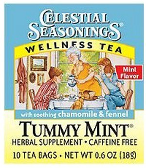 DROPPED: Celestial Seasonings - Tummy Mint Wellness Tea Caffeine Free - 10 Tea Bags