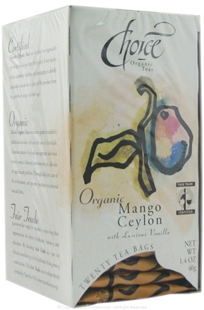 DROPPED: Choice Organic - Gourmet Mango Ceylon with Vanilla Tea - 20 Tea Bags