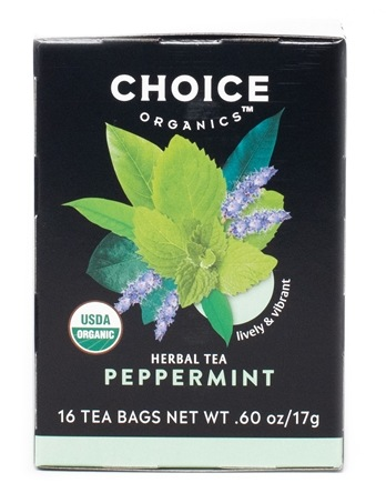 Choice Organic Teas - Peppermint Herb Tea Caffeine Free - 16 Tea Bags