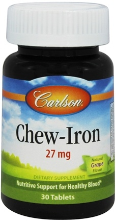DROPPED: Carlson Labs - Chew Iron Tangy Grape Flavor 27 mg. - 30 Tablets