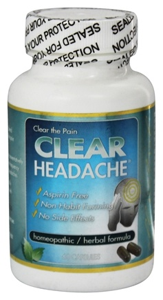 DROPPED: Clear Products - Clear Headache Homeopathic/Herbal Relief Formula - 60 Capsules