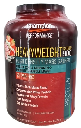Champion Performance - Heavyweight Gainer 900 High Density Mass Gainer Strawberry Sundae - 7 lbs.