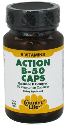 DROPPED: Country Life - Action B-50 Caps Balanced B Complex - 50 Vegetarian Capsules CLEARANCE PRICED