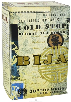 DROPPED: Flora - Bija Cold Stop Herbal Tea Certified Organic Caffeine Free - 20 Tea Bags CLEARANCE PRICED
