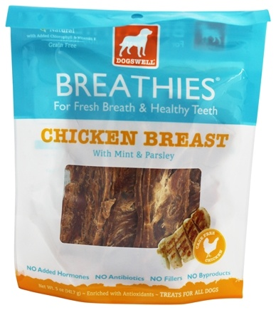 DROPPED: Dogswell - Breathies Dog Treats With Mint & Parsley Chicken Breast - 5 oz.
