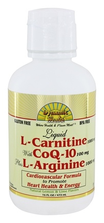Dynamic Health - Liquid L-Carnitine 1000 Mg with CoQ-10 25 Mg plus L-Arginine 1000Mg - 16 oz.