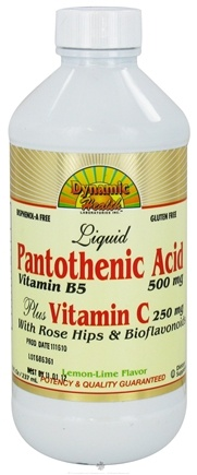 DROPPED: Dynamic Health - Liquid Pantothenic Acid Plus Vitamin C Lemon Lime - 8 oz. CLEARANCE PRICED