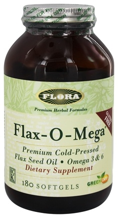 Flora - Flax-O-Mega Flaxseed Oil Premium Cold-Pressed 1500 mg. - 180 Capsules