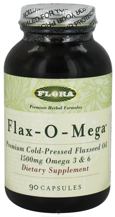DROPPED: Flora - Flax-O-Mega Flaxseed Oil Premium Cold-Pressed 1500 mg. - 90 Capsules