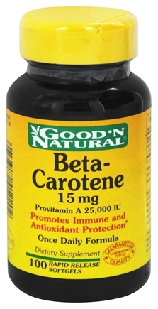 Good 'N Natural - Beta-Carotene 15 Mg Provitamin A 25 000 I.U. - 100 Softgels