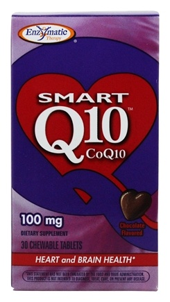 Enzymatic Therapy - SMART Q10 Coq10 Chocolate Flavor 100 mg. - 30 Chewable Tablets