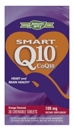Enzymatic Therapy - SMART Q10 CoQ10 Orange Cream Flavor 100 mg. - 30 Chewable Tablets