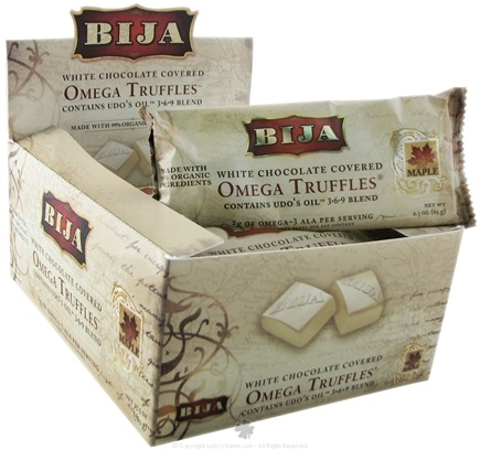 DROPPED: Flora - Bija Omega Truffles White Chocolate with Canadian Maple Filling - 2.3 oz. CLEARANCE PRICED