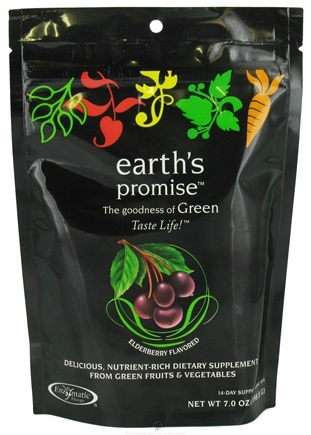 DROPPED: Enzymatic Therapy - Earth's Promise Green Drink Mix 14 Day Supply Elderberry Flavor - 6.5 oz. CLEARANCE PRICED