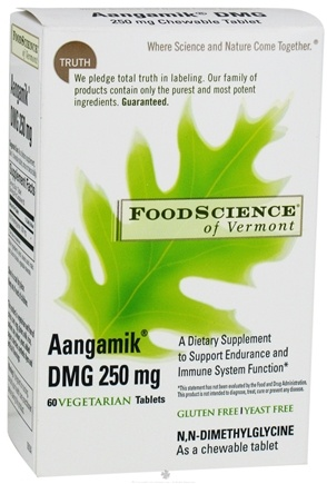 DROPPED: FoodScience of Vermont - Aangamik DMG 250 mg. - 60 Chewable Tablets CLEARANCE PRICED