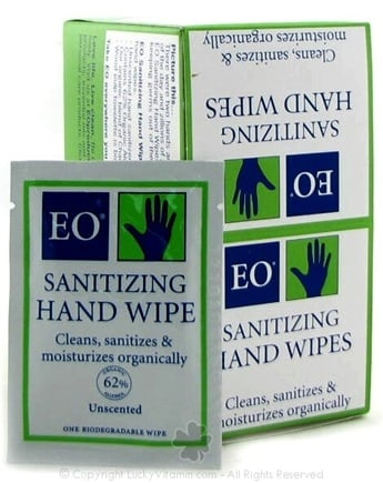 DROPPED: EO Products - Sanitizing Hand Wipes Unscented - 24 Pack(s)