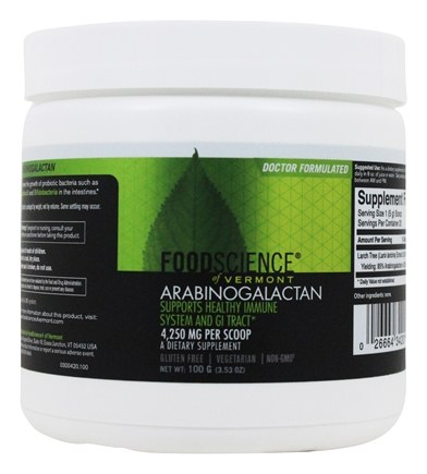 FoodScience of Vermont - Arabinogalactan Powder - 100 Grams
