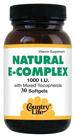 DROPPED: Country Life - Natural E-Complex 1000 IU with Mixed Tocopherols 1000 IU - 30 Softgels