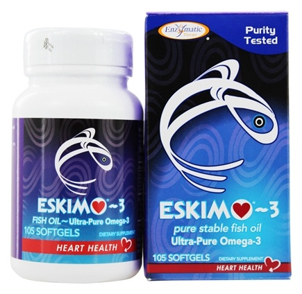 Enzymatic Therapy - Eskimo-3 Natural Stable Fish Oil Ultra-Pure Omega-3 500 mg. - 105 Softgels