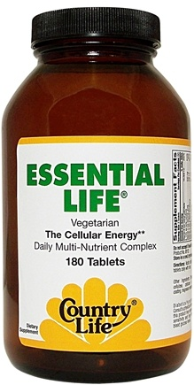 DROPPED: Country Life - Essential Life - The Cellular Energy Daily Multivitamin - 180 Tablets