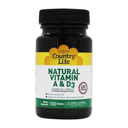 Country Life - Natural Vitamin A & D3 From Cod Liver Oil 10,000 IU/400 IU - 100 Softgels