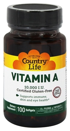 DROPPED: Country Life - Natural Vitamin A From Fish Liver Oil 10000 IU - 100 Softgels