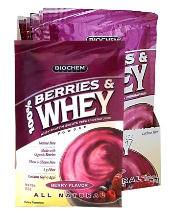 DROPPED: Biochem by Country Life - 100% Berries & Whey Powder Berry Flavor Packet - 1.12 oz. CLEARANCE PRICED