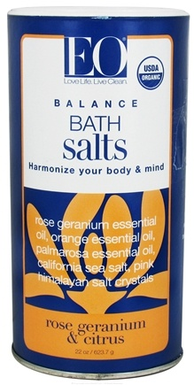 DROPPED: EO Products - Bath Salts Balance Rose Geranium & Citrus - 22 oz. CLEARANCE PRICED