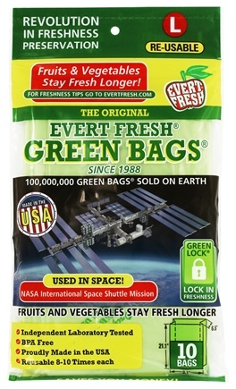 "Evert-Fresh Corp. - Evert-Fresh Green Bags Large (21"" x 9"" x 6.50"") - 10 Bags Formerly by Debbie Meyer"