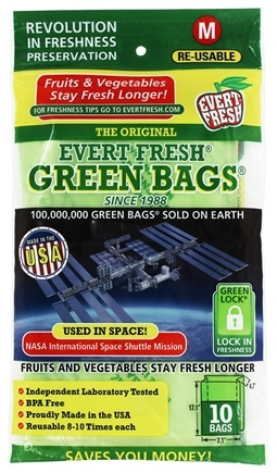 "Evert-Fresh Corp. - Evert-Fresh Green Bags Medium (17"" x 7"" x 4.75"") - 10 Bags Formerly by Debbie Meyer"