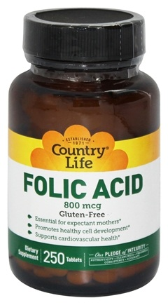 Country Life - Folic Acid 800 mcg. - 250 Vegetarian Tablets