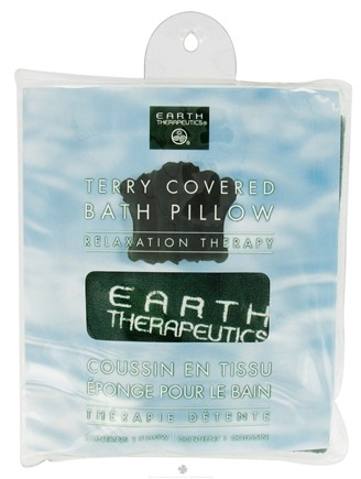 DROPPED: Earth Therapeutics - Terry-Covered Bath Pillow Green - CLEARANCE PRICED