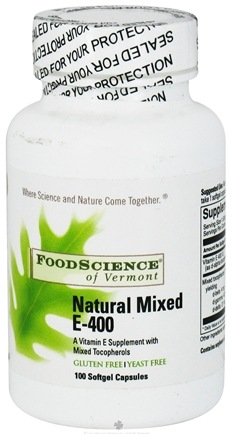DROPPED: FoodScience of Vermont - Natural Vitamin E-400 Mixed Tocopherol 400 IU - 100 Capsules CLEARANCE PRICED