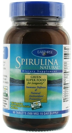 DROPPED: Earthrise - Spirulina Natural Green Super Food For Longevity 500 mg. - 90 Tablets