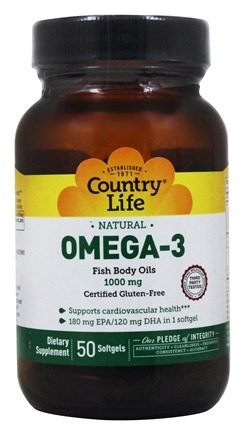 Country Life - Omega-3 Natural Fish Body Oils Providing EPA and DHA 1000 mg. - 50 Softgels