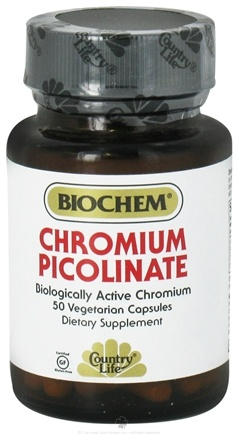 DROPPED: Biochem by Country Life - Chromium Picolinate 200 mcg. - 50 Vegetarian Capsules CLEARANCE PRICED