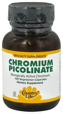 DROPPED: Country Life - Chromium Picolinate Caps 200 mcg. - 100 Vegetarian Capsules Formerly Biochem CLEARANCE PRICED