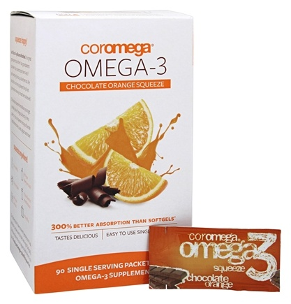 Coromega - Omega-3 Squeeze Orange With a Hint of Chocolate - 90 Packet(s)