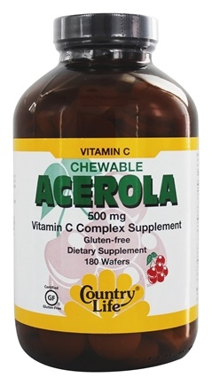 Country Life - Acerola Chewable Vitamin C Complex 500 mg. - 180 Wafers
