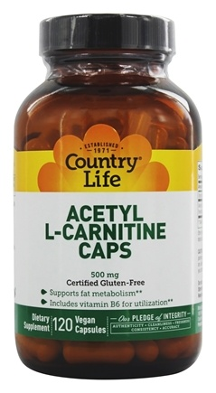 Country Life - Acetyl L-Carnitine Caps Amino Acids 500 mg. - 120 Vegetarian Capsules