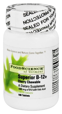 DROPPED: FoodScience of Vermont - Sublingual B12+ Cherry 1000 mcg. - 100 Chewable Tablets