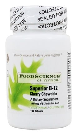FoodScience of Vermont - Sublingual B12 Cherry Chewables 1000 mcg. - 100 Vegetarian Tablets Formerly MC
