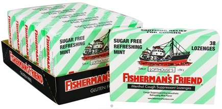 DROPPED: Fisherman's Friend - Menthol Cough Suppressant Lozenges Sugar Free Refreshing Mint - 38 Lozenges