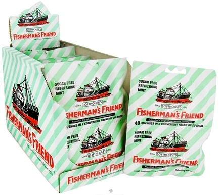 Fisherman's Friend - Menthol Cough Suppressant Lozenges Sugar Free Refreshing Mint 2 Pack - 40 Lozenges