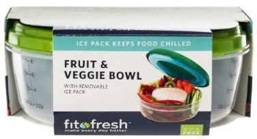 DROPPED: Fit & Fresh - Fruit & Veggie Bowl with Built-in Ice Pack Green - formerly by Vitaminder CLEARANCE PRICED