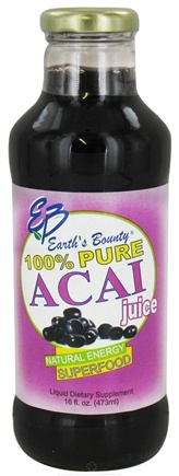 DROPPED: Earth's Bounty - Acai Juice 100% Pure - 16 oz. CLEARANCE PRICED